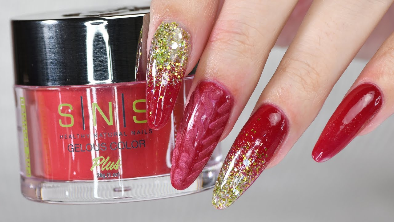 Red Ombre Nails Christmas.Christmas Nails With Sns Dip System Red Iguana April Ryan