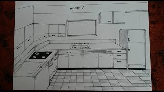 How to draw a kitchen (one point perspective)