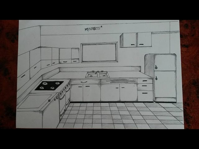 How To Draw A Kitchen One Point Perspective Youtube