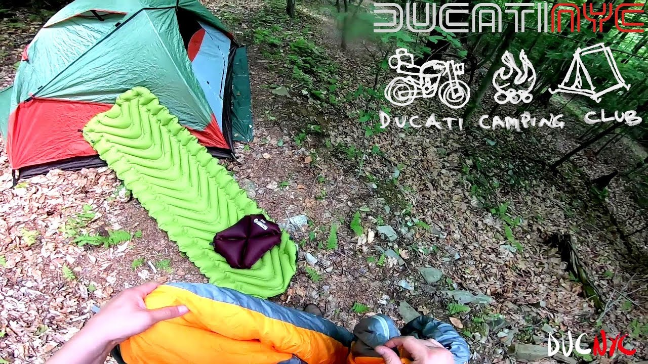 Solo MotoCamping in Catskill Mountains, NY  - Building the tent - Setup - Camping on a Ducati v1266