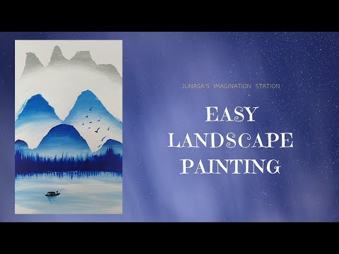 Easy Landscape Painting for KIDS | Newspaper Landscape Painting | DIY