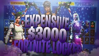 MOST EXPENSIVE $3000 FORTNITE LOCKER EVER! 150+ SKINS,RARE PICKAXES, AND OG SKINS