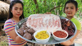 Wow cooking ribs pork curry with noodle with my sister recipe