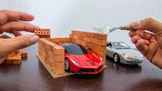 How to Build a MINI TWO FLOORS GARAGE --- BRICKLAYING