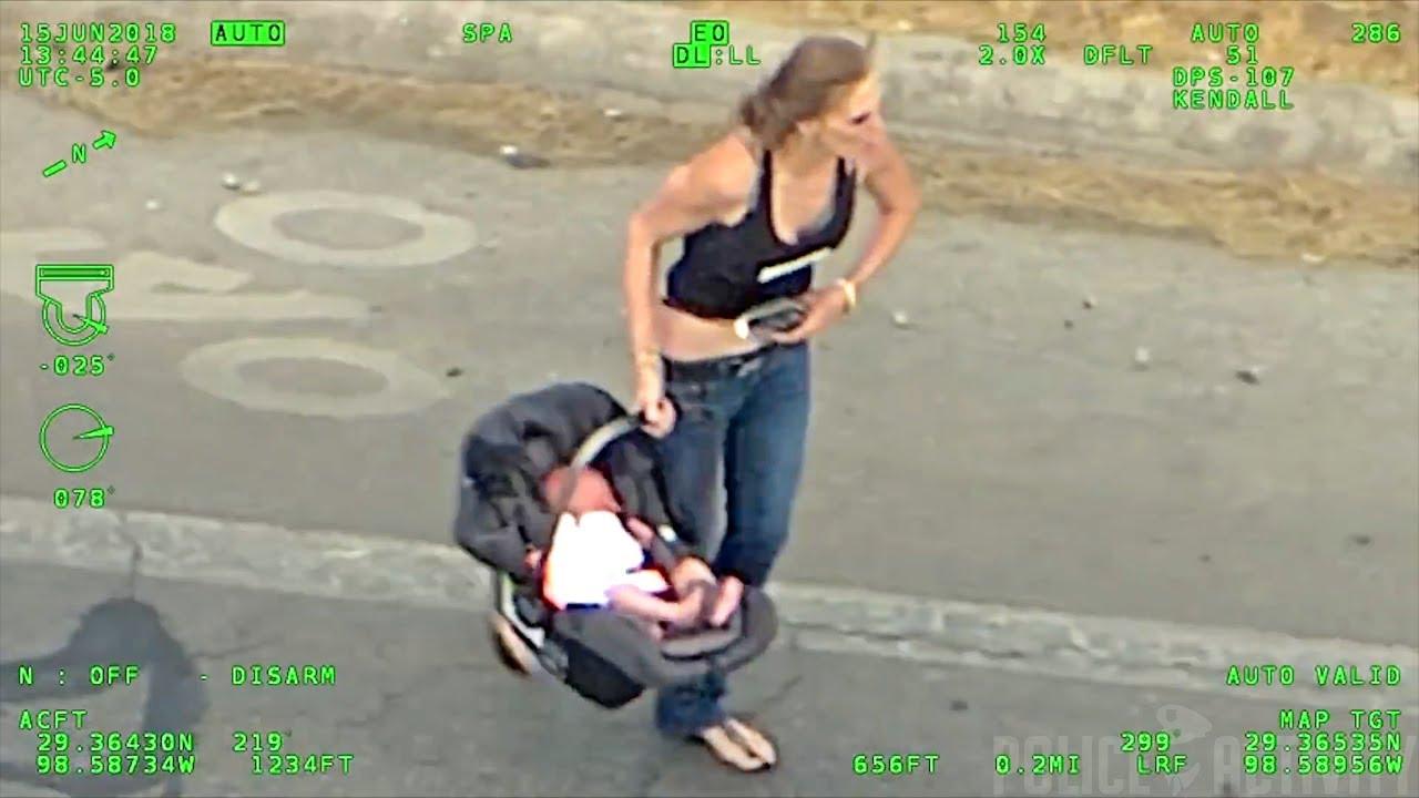 مطاردة بوليسية مرعبة لإمرأة معها طفل رضيع تنتهي بحادث مأساوي