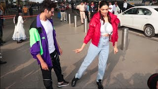 Deepika padukone CRAZY DANCE At Airport With Kartik Aryan , Promoting Pati Patni Or Woh
