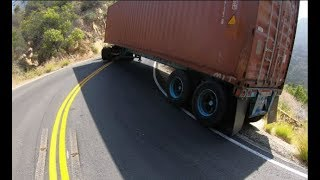 Leaning trailer close to falling down cliff in Malibu Hills