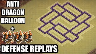 Clash of Clans - Town hall 7 (Th7) War Base + 3 Air Defense REPLAY - ANTi Dragon Strategy