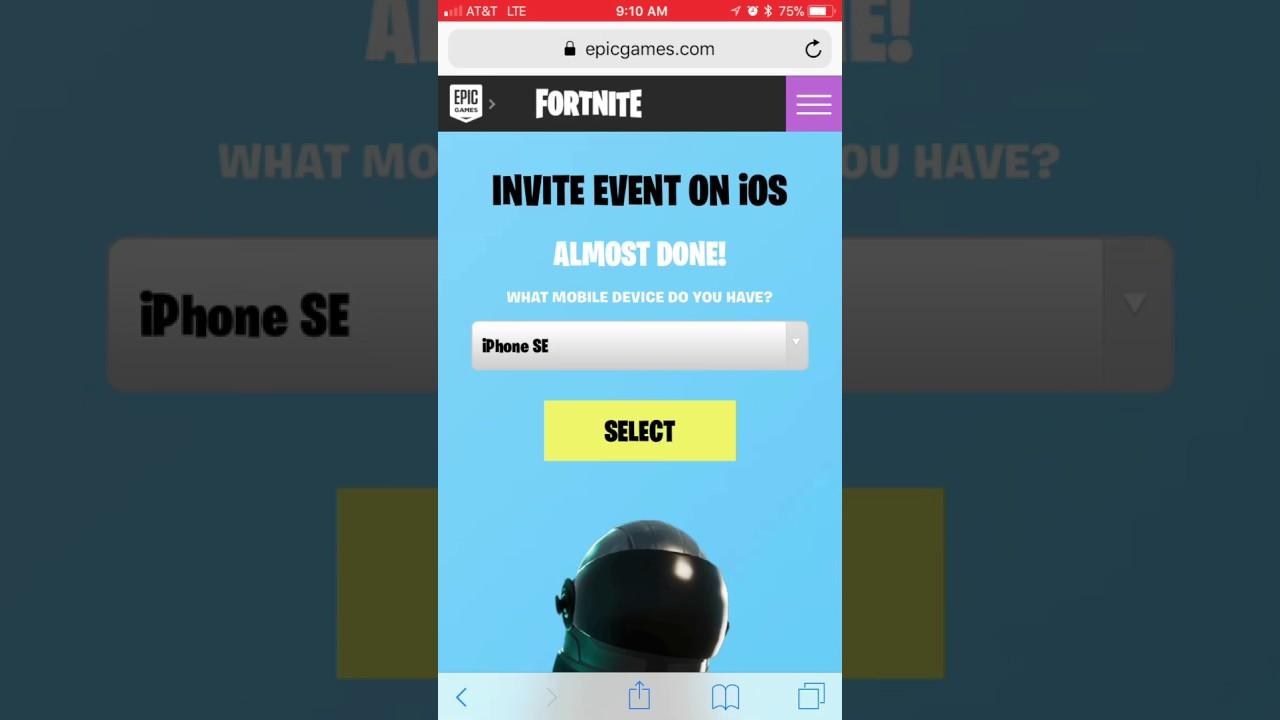 fortnite mobile sign up link