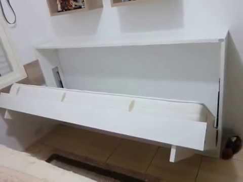 Kit para cama de parede solteiro horizontal youtube for Sofa que se transforma em beliche