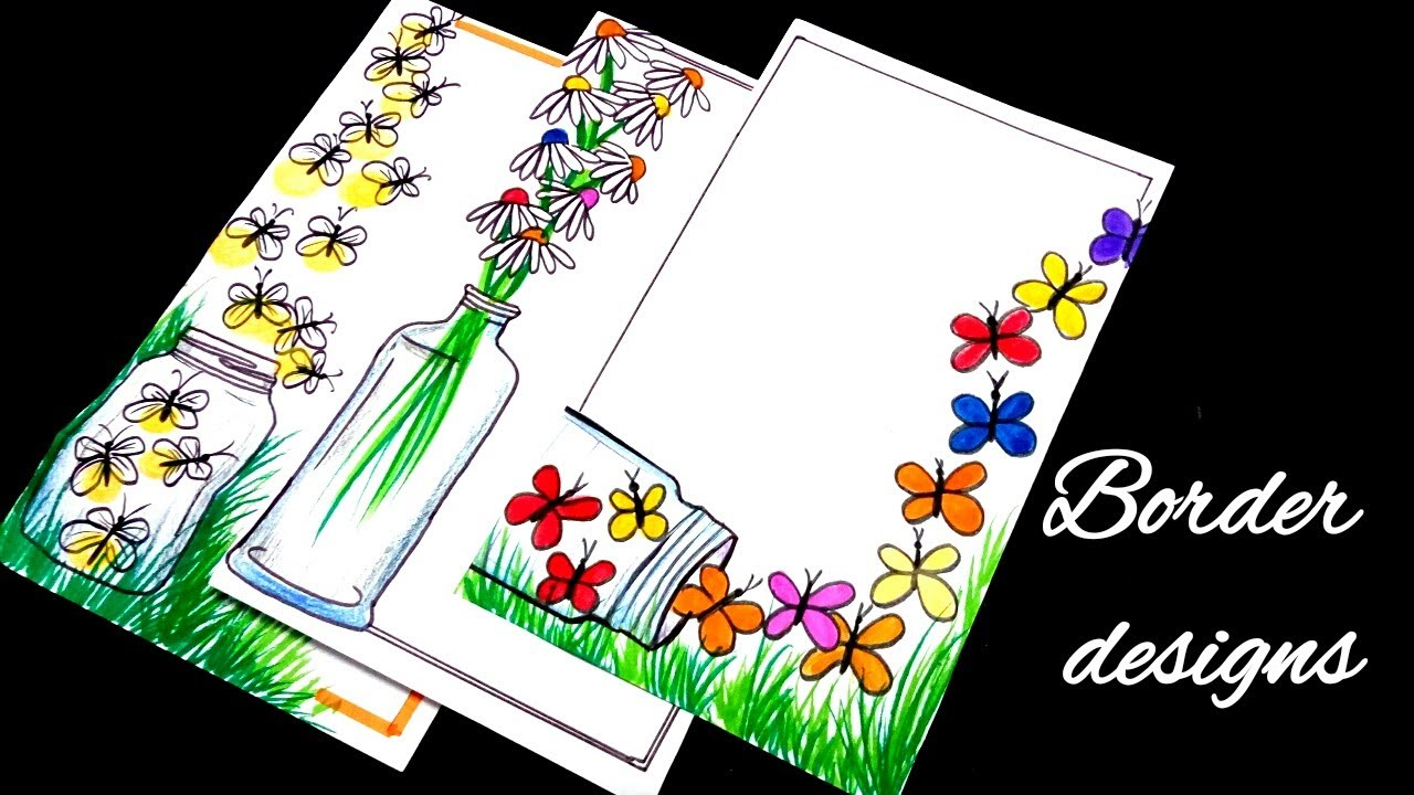 2nd Border Designs On Paper Border Designs Project Work Designs Borders For Projects Youtube