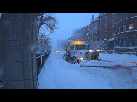 Boston Blizzard 2018 Beacon Hill snow plowing