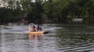 Homemade airboat, first test with a 5x10 boat