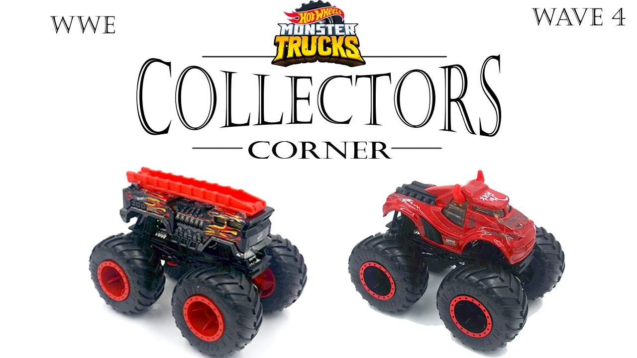 2020 Wwe Monster Trucks Seth Rollins The Rock Wave 4 Collectors Corner Youtube