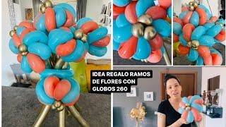 IDEA REGALO/RAMOS DE FLORES DE DOS COLORES CON GLOBOS 260/IDEA ELEGANTE Y SENCILLA PARA REGALAR