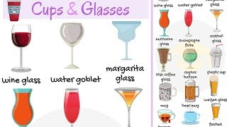Cups and Glasses Vocabulary Words in English | List of Glassware with Pictures