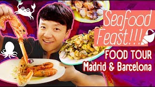 FRESH SEAFOOD FEAST! Food Tour Madrid & Barcelona