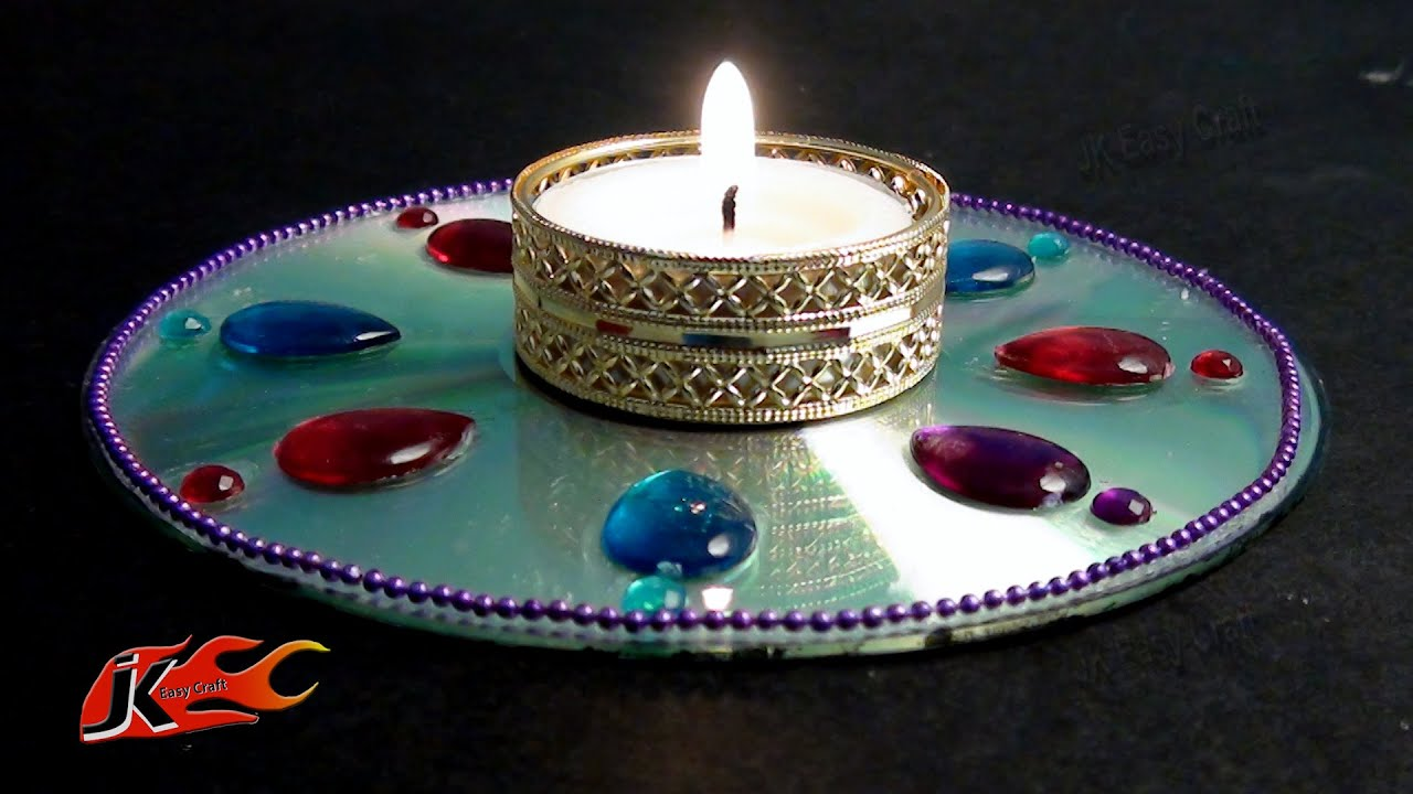 Diy easy cd dvd candle holder how to make jk easy craft for Latest best out of waste