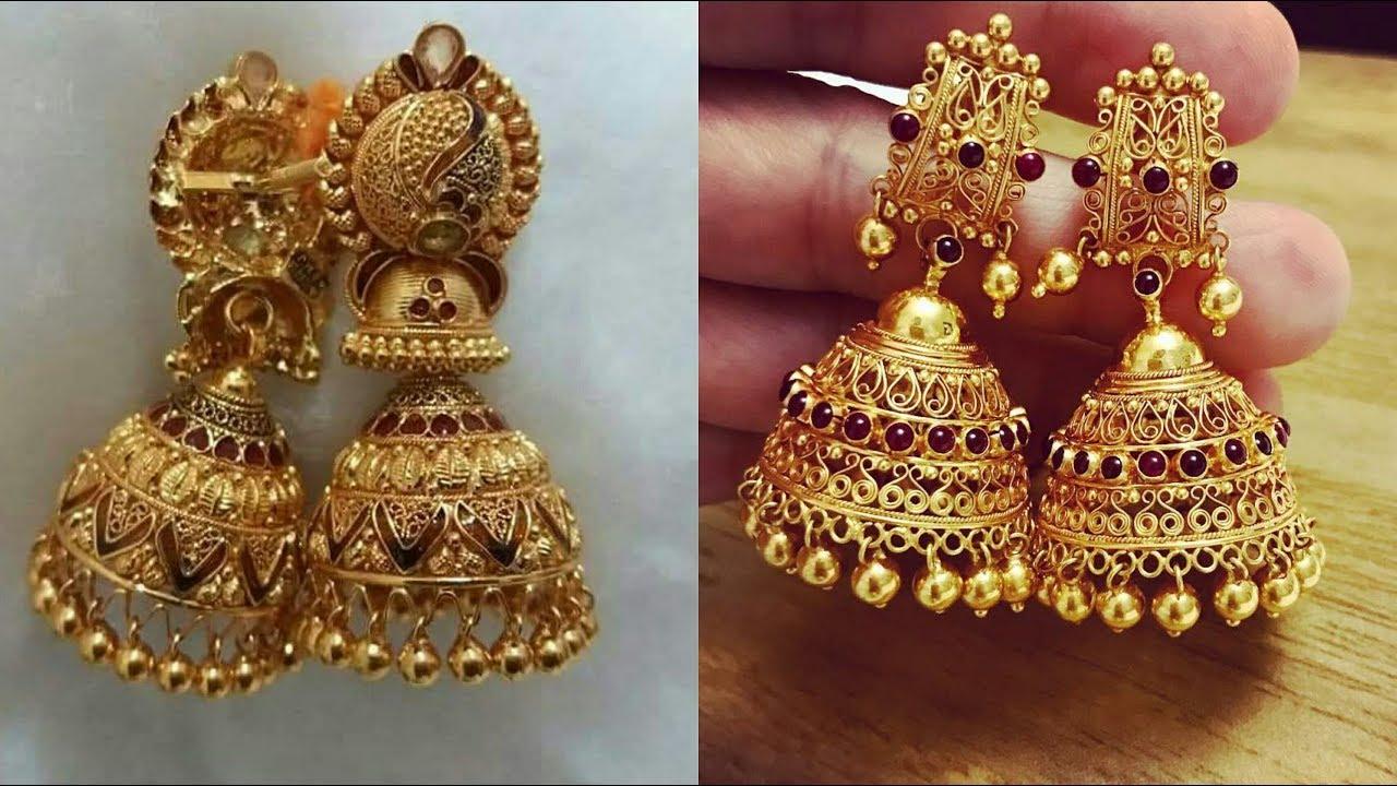 Latest Designer Gold Earrings Pinjada Designs