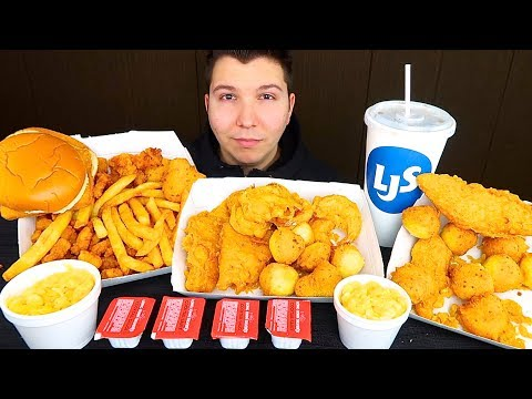 My First Time Trying Long John Silver's Deep Fried Seafood • MUKBANG