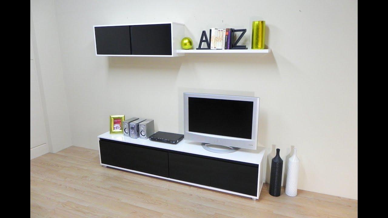 Mueble salon comedor economico Blanco combinado Negro ref