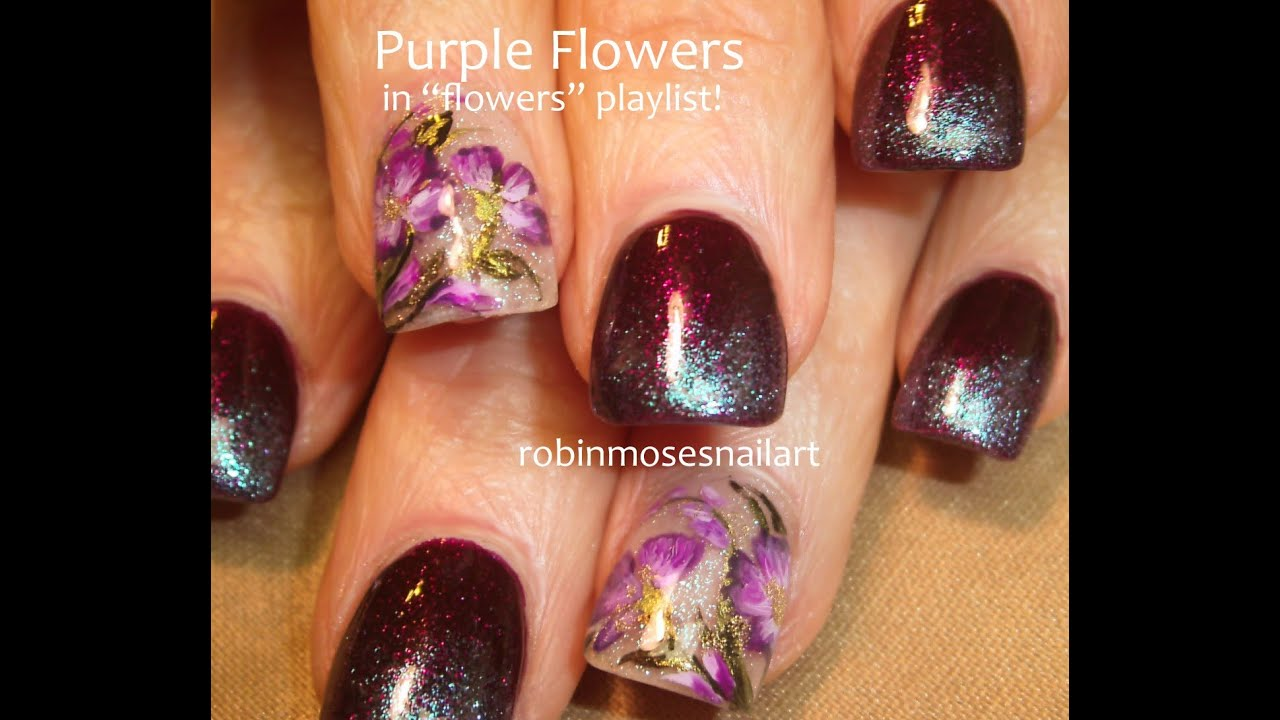 Easy Dark Purple Nails with Lavender Flowers | Nail Design Tutorial ...