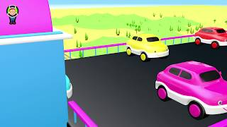 Learn Colors For Kids with Dinosaurs, Truck wtih Balls with Cars Parking Animation