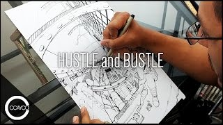 "Drawing ""Hustle and Bustle"" - Original Piece"