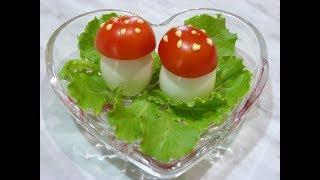 Как сделать украшение закуску из помидоров и яиц