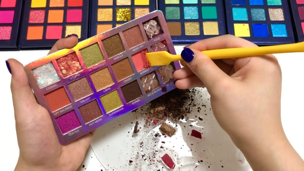 영혼과 뿌셔넣은😱 클리어슬라임에 섀도우 부수기 ASMR 슬라임 리얼사운드 Slime Coloring with Makeup Compilation