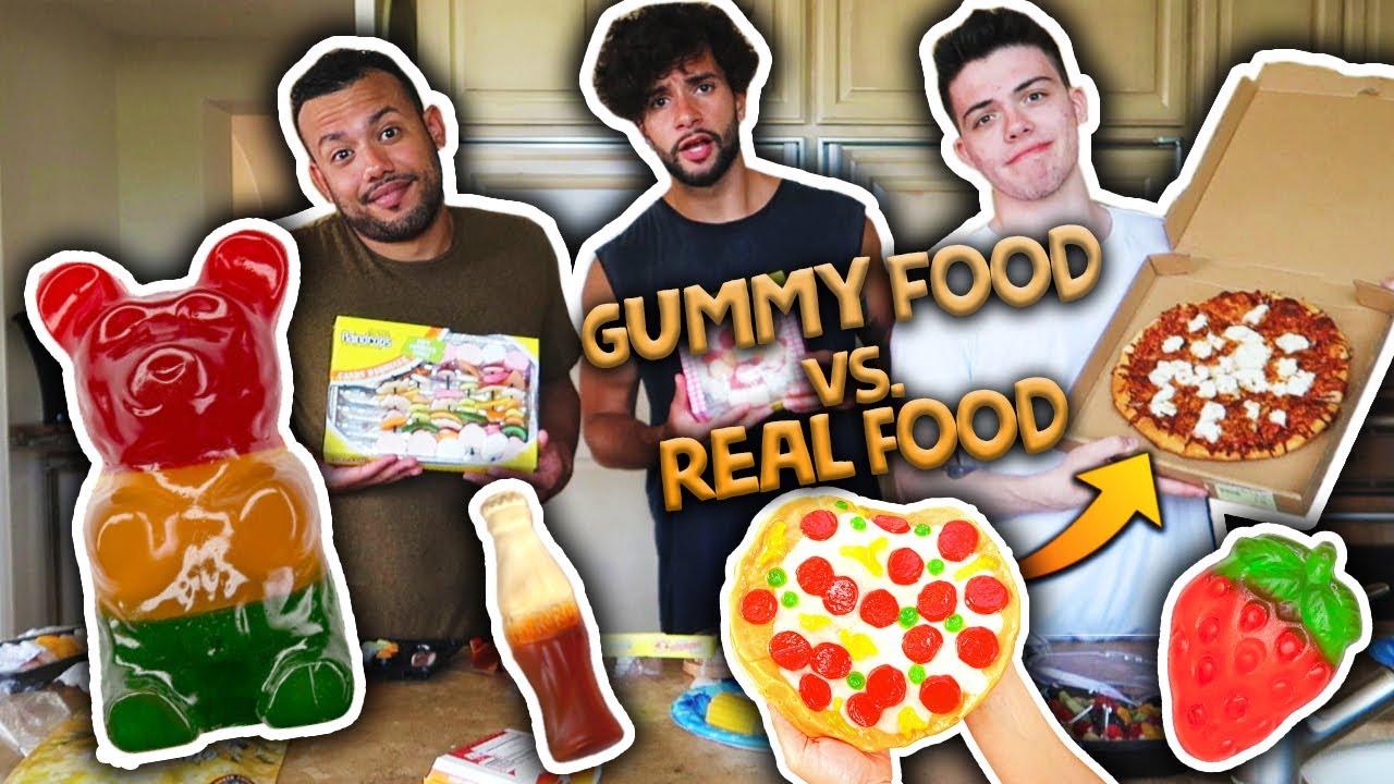Gummy Food Vs Real Food Challenge Eating Giant Gummy
