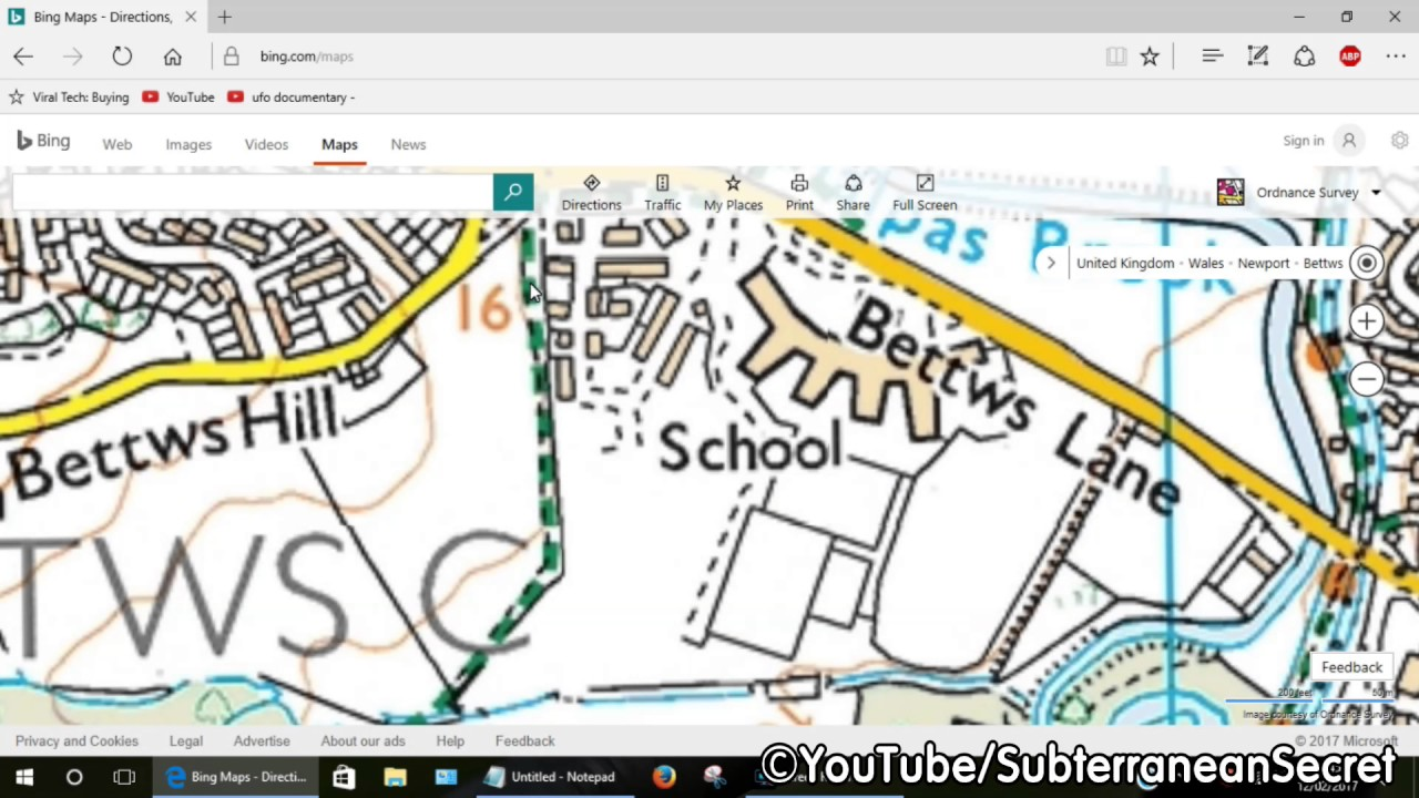 how to find public footpaths in the uk using bing maps