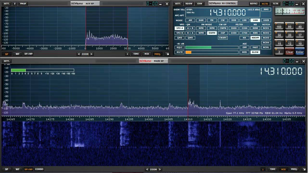 SDRplay and SDRuno tuning the ham bands with MEM Panel