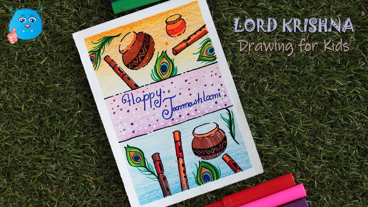 Krishna Janmashtami Greeting Card Drawing Easy How to Draw Happy Janmashtami