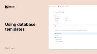 Using database templates