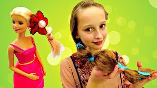 Новогодняя прическа для куклы Барби. Видео для девочек