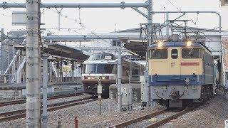 高崎線EF65牽引貨物列車  宮原到着(待避[E233系,485系NO.DO.KA])-発車⑤