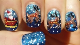 Santa Sleigh And Reindeer Nail Art Christmas Tutorial