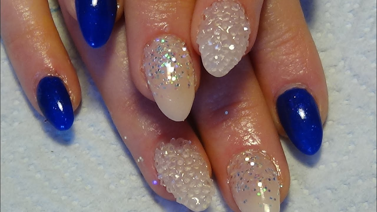 navy & nude acrylic nails using gels and pixie crystals - YouTube