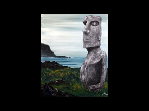 Easter Island Moai Step by Step Acrylic Painting on Canvas for Beginners