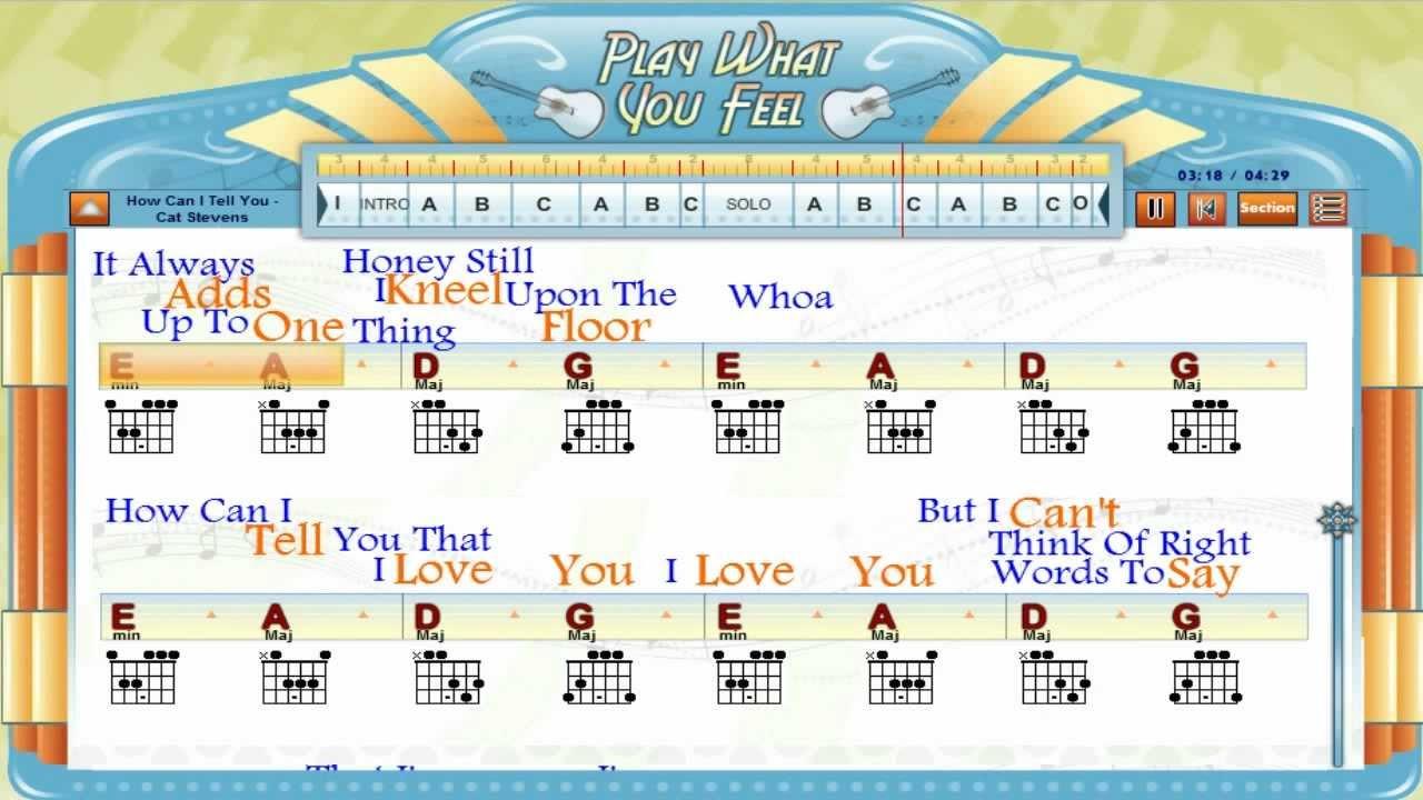 How Can I Tell You Cat Stevens Guitaraoke Chords Lyrics