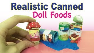 How to Make Realistic Canned Foods | Pie Filling for Dolls Barbie