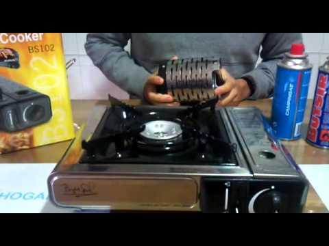 Cocina portatil inoxidable de gas modelo bs102 youtube for Cocina de gas portatil