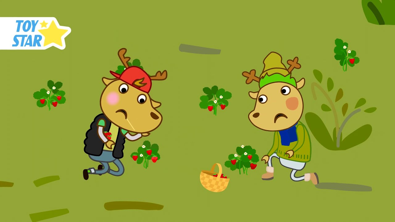 The Deer Brothers are Picking Strawberries and Somewhere Near Dolly. Funny Cartoon for Kids