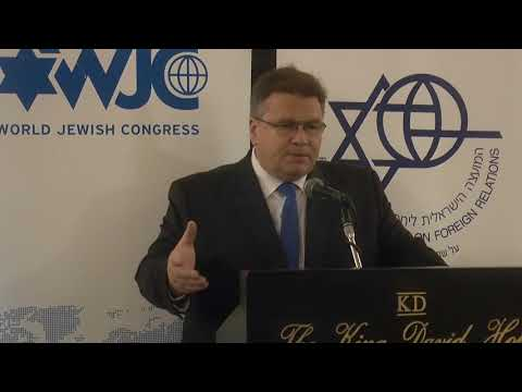 Minister of Foreign Affairs of Lithuania, Linas Linkevicius, talk in Jerusalem