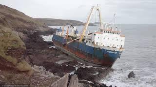 Mv Alta Cargo Ghost Ship Grounded At Ballycotton, Co. Cork, Ireland. - Storm Denis