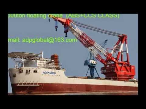 5000t floating crane barge 5000 ton crane vessel For sale for charter rent hire
