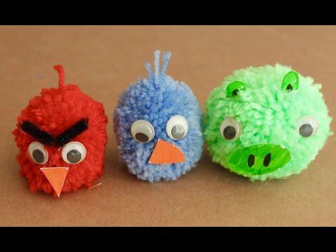 Easy craft: How to make Angry Birds pom poms