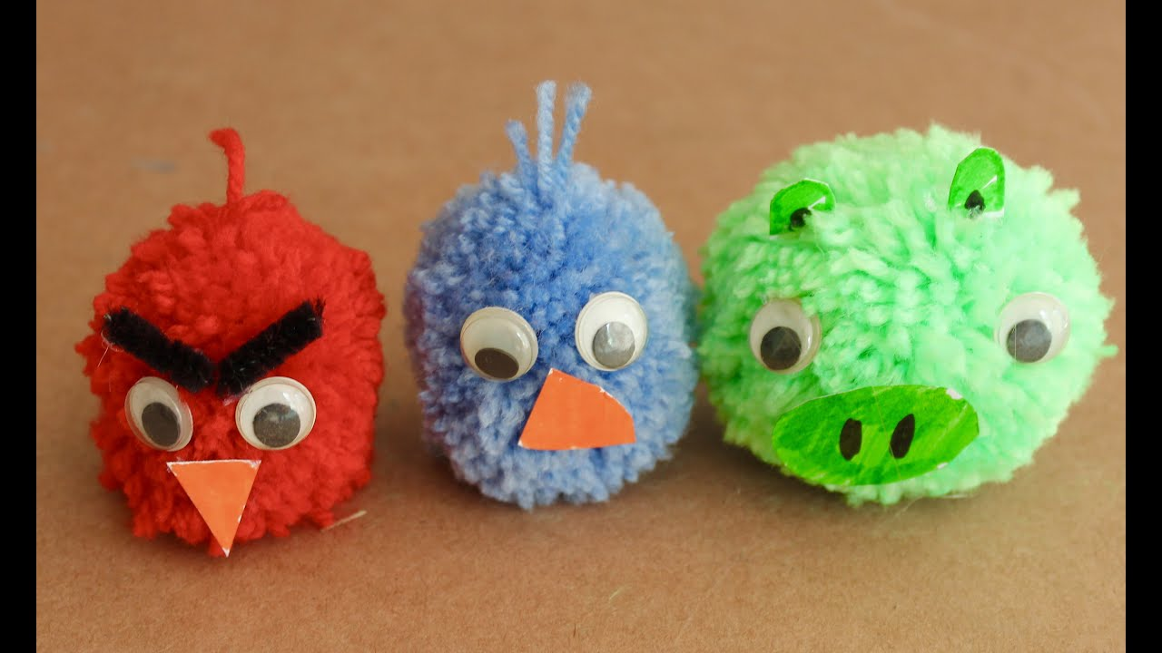 Easy craft how to make angry birds pom poms youtube for Crafts to make with pom poms