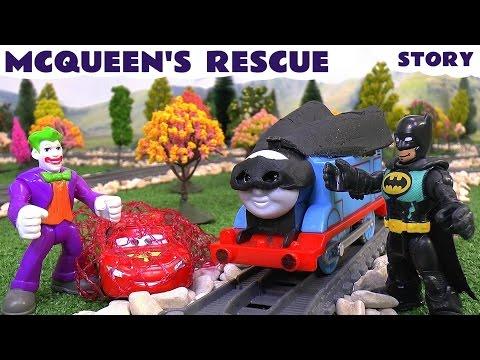 Batman Imaginext & Play Doh Thomas The Tank Engine Cars Lightning McQueen Rescue Story Batcave Joker